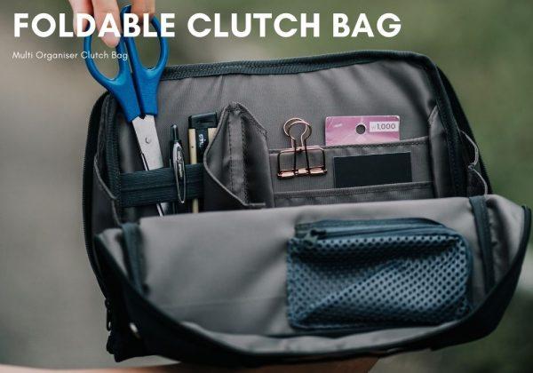 Foldable work clutch bag
