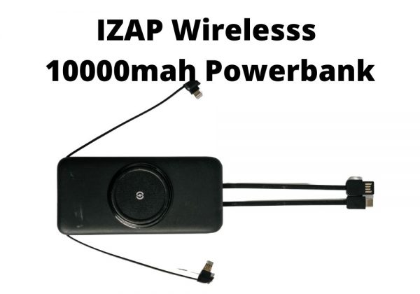 IZAP Wireless 10000 MAH Powerbank 4 cables