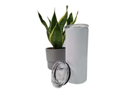 White Tumbler Flask with Straw